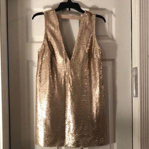 Rose gold sequin mini dress